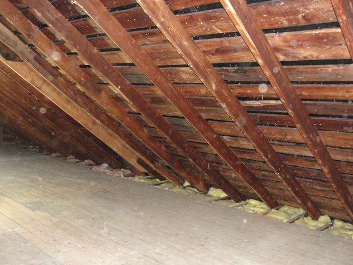 A New York attic before installation of SuperAttic & SuperAttic™ Attic Insulation in Middletown Cornwall Pine Bush ...
